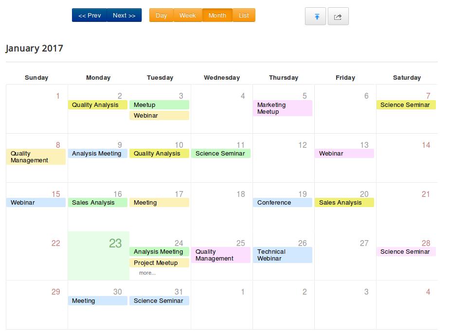 event calendar bootstrap 4